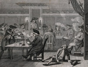 Smokers and drinkers in tavern. One has fallen to the floor, has spilled his beer and broken the stem of his pipe.