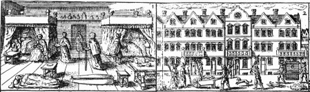 Two panels from a contemporary broadsheet that shows the role and activities of the Searchers